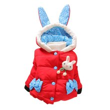 Baby Kids Girls Winter Hooded Coats Cartoon Rabbit Hoodie Coat Jacket Toddler Warm Long Sleeve Bow Dot Outwear(China)