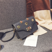 SHUNVBASHA  PU women bag Fashion Rivets mini Messenger Bag Designer Famous Brand Vintage Shoulder Bag female lock catch package
