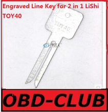 20pcs Original Engraved Line Key for 2 in 1 LiShi TOY40 scale shearing teeth blank car key locksmith tools supplies
