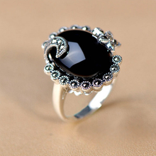 2017 New Vintage Big Black stone  Shuttle Rings moon star ring For Women Jewelry High Quality  valentine's gift for girlfriend
