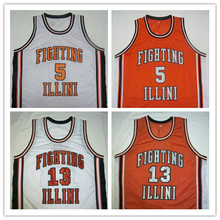 Deron Williams KENDALL GILL Illinois Orange Away White Basketball Jersey Embroidery Stitched Customize any size and name(China)