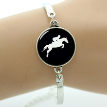 TAFREE Brand Horse Racing silhouette bracelet vintage horseback riding jewelry gifts for equestrians Derby Day black hole T783