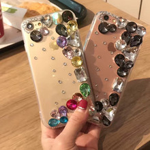 For iPhone 8 6 6s Luxury Bling Diamond Case Clear Crystal Rhinestone Cover for iPhone 7 7 plus Fundas Coque de telephone for 5s()