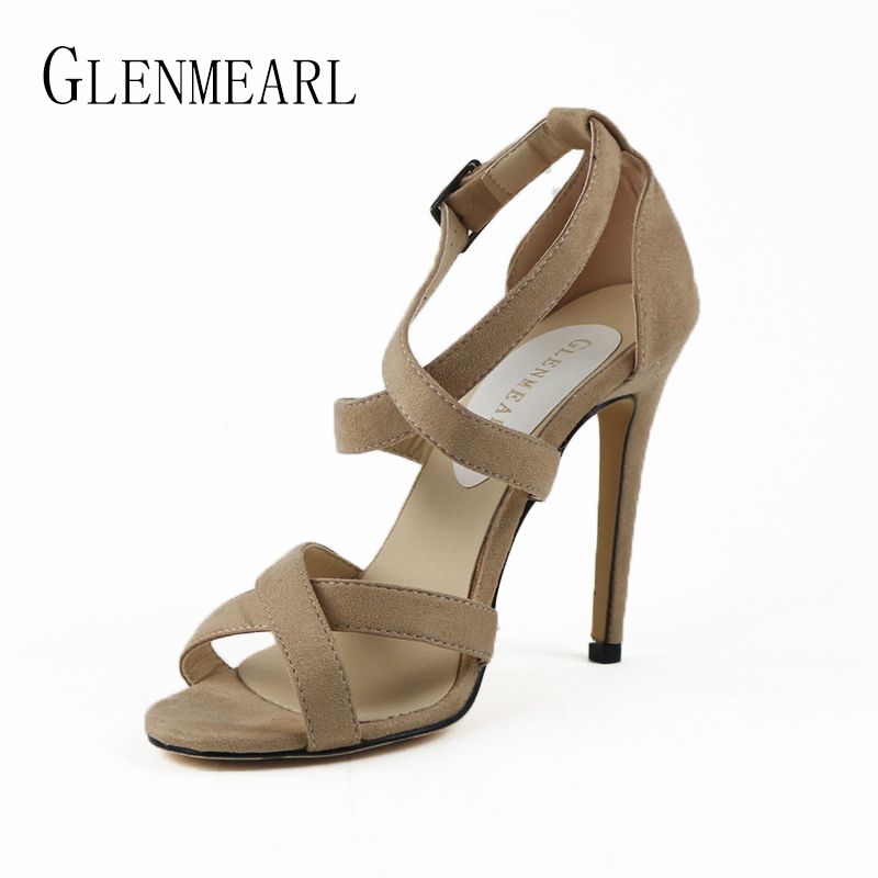 2018 Summer Sexy High Hee Womens Sandals Shoes Female Sandals Thin High Heels Buckle Shoes Pumps Plus Size Wedding Shoes 40<br>