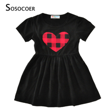 SOSOCOER Toddler Girl Dresses Costume Summer 2017 Lovely Plaid Stripe Heart Girls Princess Dress For Kids Baby Clothes Outfits(China)