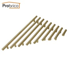 Probrico Gold Cabinet Handle Stainless Steel Diameter 12mm Kitchen T Bar Door Knob Furniture Drawer Cupboard Pull CC 96mm~256mm