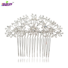 2016 New Hair Combs Romantic Plant Flower Women Rhinestone Crystals Hair Comb Bridal Wedding Jewelry Accesssories 2257r