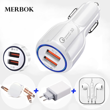 Fast Car Phone Charge QC3.0 Uhans A101S H5000 K5000 S1 U100 I8 U300 U200 Phone EU Plug Wall USB Charger + USB Data Cable