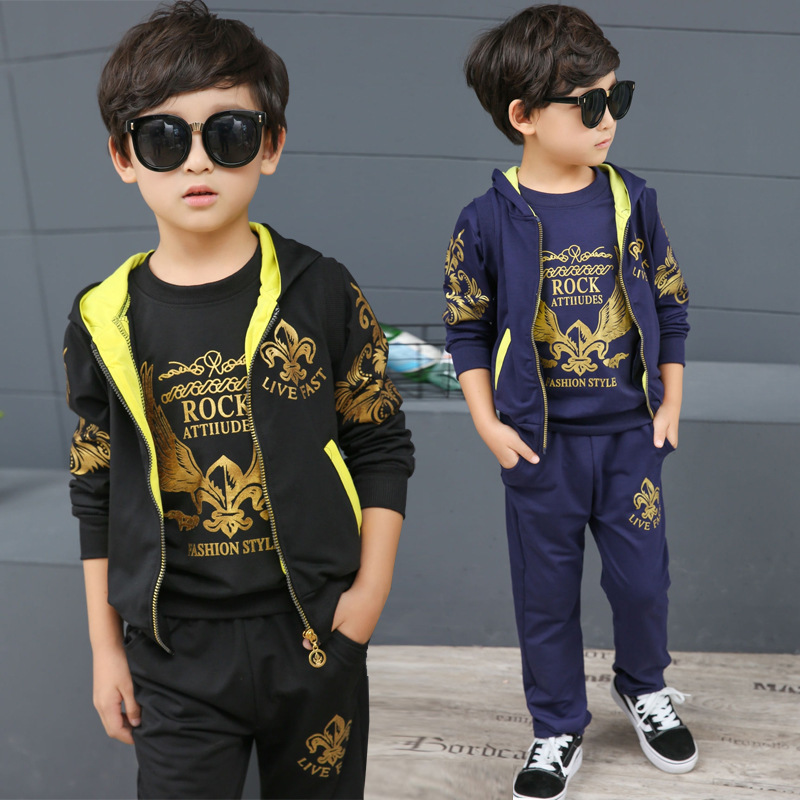 Childrens Garment Catamite Autumn Suit Pattern Boy Korean Leisure Time Child Hat Three-piece Hot Kids Clothing Sets<br>
