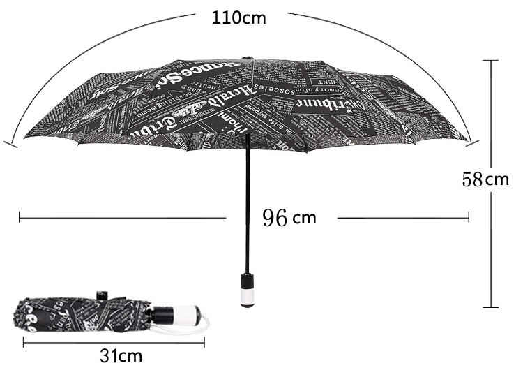 Automatic Umbrella Three-folding Newspaper Umbrella Sunny and Rainy ...