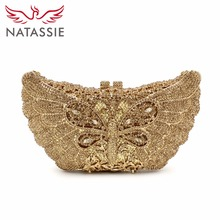NATASSIE Women Luxury Dragonfly Shape Evening Bag Ladies Diamonds Clutches Purses Female Party Wedding Bags