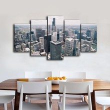5 Pcs/Set Framed HD Printed New York Buildings City Heart Picture Wall Art Canvas Print Poster Canvas Oil Painting Cuadros