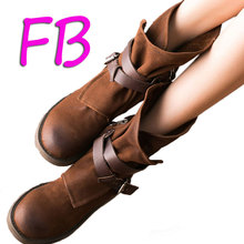 Large Size Eu41 The First Layer Of Real Leather Boots Brush Nubuck Leather Rubber Soft Bottom Tube Mid-Calf Zipper Shoes 2016