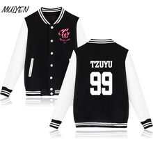 MULYEN Kpop Korean TWICE Land Twiceland Album Concert Baseball Uniform Women Member Name Printing Hoodies For Fans Moletom