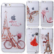 Transparent Butterfly Flowers Tower Girl Case Cover For iphone 5 5s SE 6 6plus 6s 6splus Diamond Soft Silicone Cell Phone Cases