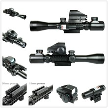 Hunting Optics Rifle 3-9X40 Illuminated Red/Green Laser Riflescope With Holographic Dot Sight Weapon Telescope Sight
