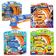 Electric Railw Thomas Train Track SpongeBob Snow white Spiderman Robot Rail Car Educational Toys With Nice Package Kids Gifts #E