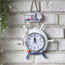 12 Inch Large Wall clock Wall Decoration bell hanging Sailboat helmsman Figurine Round Wall Clock Novelty Craft High Quality(China)