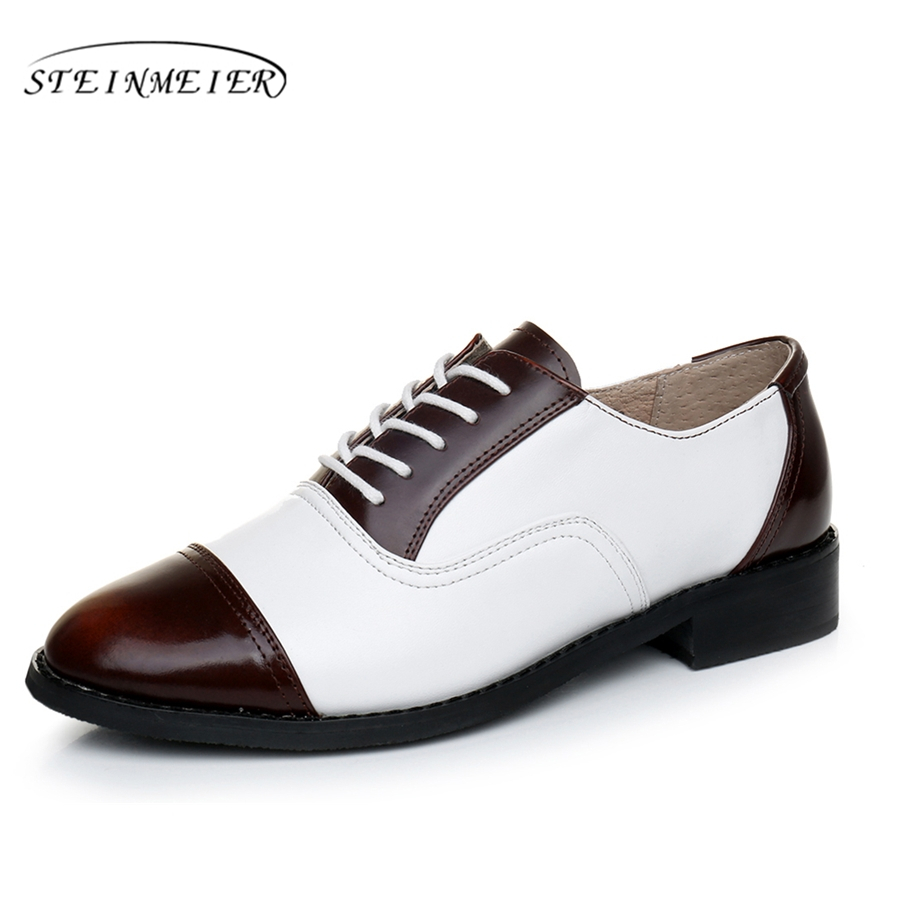 2017 woman vintage flat oxford shoes round toe genuine leather US 11 handmade lace up brown white oxford shoes for women <br>