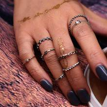 TOMTOSH Bohemian 8 pcs/set Vintage Antique Silver Crystal Rings Lucky Stackable Midi Rings Set of Rings for Women Party Jewelry