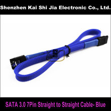 "18"" Blue Sleeved SATA 3.0 III SATA3 High Speed 6GB/s Straight to Straight HDD Hard Drive Data Cable(China)"