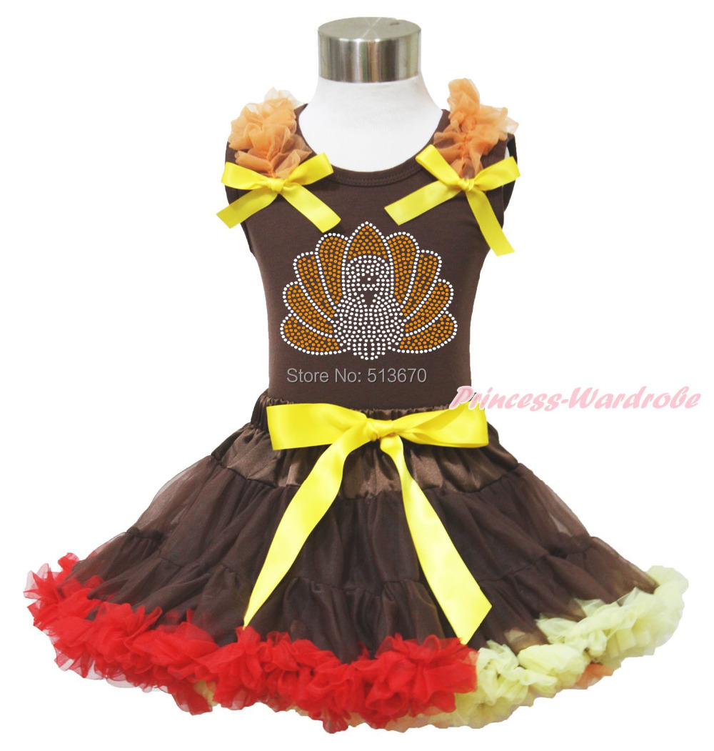 Thanksgiving Rhinestone Turkey Brown Top Baby Girl Pettiskirt Outfit 1-8Y MAPSA0034<br>