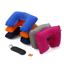 She Awaits Simple Inflatable U-Shape Pillow Flocking Supplies Sleep Use Neck Headrest Travel Office Car Home Accessories Gift