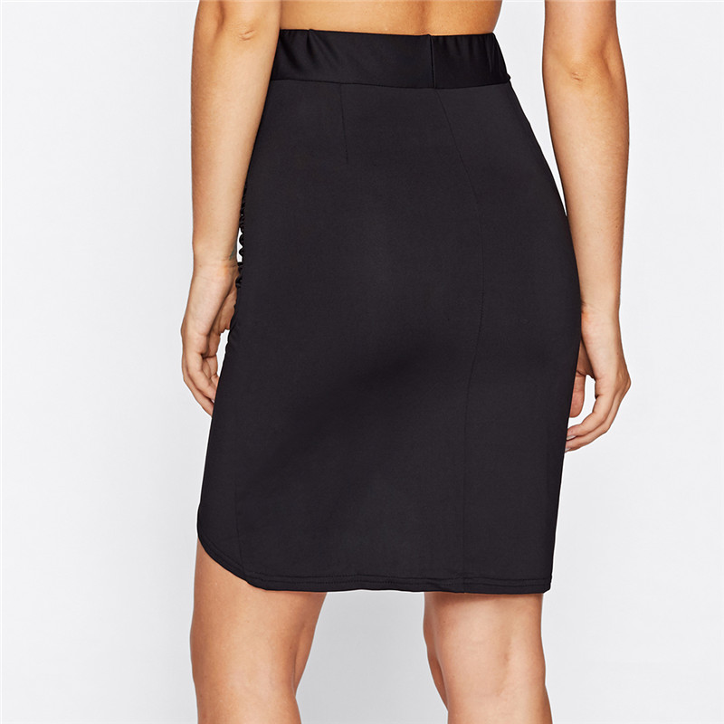 COLROVE Sexy Ruched Mini Pencil Skirt Women Black Asymmetrical Overlap Summer Skirts 2017 New Elegant High Waist Slim Club Skirt 11