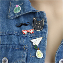 Cute Enamel Metal Pins For Women Clothing Accessories Gold Color Colorful Enameled Glasses/Cat/Pear/Airplane Collar Brooches