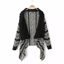 TONGMAO 2017 Explosion Models New Irregular Geometric Patterns Cardigan Sweater Shawl Lapel Jacket Leisure Women's Sweaters(China)