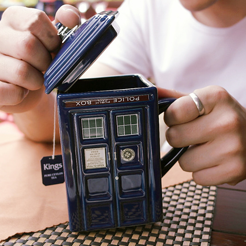Anime 400ml Doctor Who Tardis TARDIS Mug Creative Police Box Mug Funny Ceramic Coffee Tea Cup For Man Woman Christmas Gift<br>