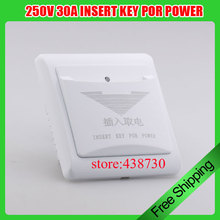 220V 40A 3 line INSERT KEY POR POWER /Admission card switch/ Delay to take power switch for Hotels(China)