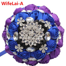 Stunning Diamond Brooch Crystal Pearls Silk Bow Wedding Bouquets Black Royal Blue Purple Rose Mixed Flower Bridal Bouquets W236