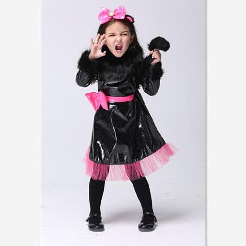 Halloween Cosplay Children Cartoon Princess Clothing Lovely Fur Collar Bowknot Belt Girls Dress with Headwear Kid Drama Costumes<br><br>Aliexpress