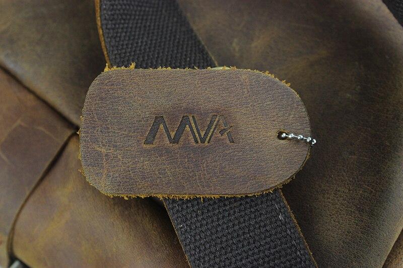 MVA Vintage Men Backpack 15inch Leather Laptop Backpack Genuine Leather Men Bag Fashion Backpacks for Teen Travel School Bag