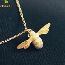 Flyleaf 925 Sterling Silver Cute Little Bee Necklaces & Pendants For Women Fashion Girl Hypoallergenic Sterling-silver-jewelry(China)