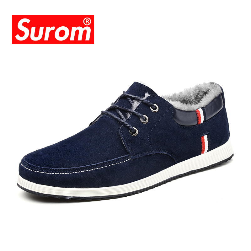 SUROM Brand Men Shoes Fashion Flats Suede Leather Casual Shoes with Fur Warm shoes for Winter Platform Lace up Boat  Shoes<br>