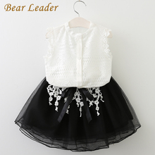 Bear Leader Girls Dress 2018 Casual Summer Style Girls Clothes Sleeveless White Lace T-shirt+Girls Dress 2Pcs for Kids Clothes(China)