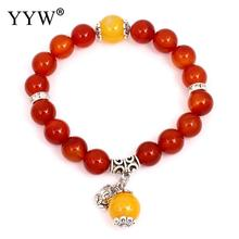 YYW New Designs Ethnic Women Mom Real Red Stone Beaded Strand Charm Dangle Bracelets Jewelry Dragon Veins Agata Stone Bracelets