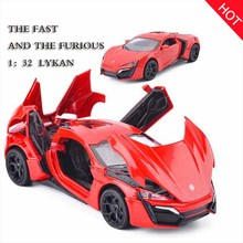 Hot 1:32 Fast & Furious Lykan Alloy Diecast Car Model Pull Back Toy Car Metal Toy Miniatures Car Kid Toys for Children Toy Gift