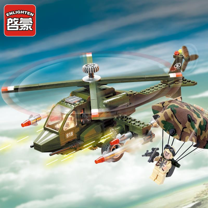 818 Enlighten Military Series Helicopters Building Blocks set Bricks Construction Toys For Children Gift compatiable with gift <br><br>Aliexpress