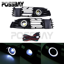 1pair Front Grille Angel Eyes Halo Ring Fog Light For VW Passat B5.5 Santana 2001 2002 2003 2004 2005 Car Cover