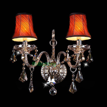 lamp Elegant and Modern blown Murano Glass wall sconces with fabric lampshade Vintage Sconces Wall Light crystal Bathroom Sconce