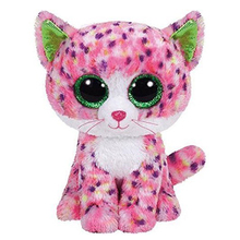 "Pyoopeo Ty Beanie Boos 10"" 25cm Sophie Pink Polka Dot Cat Boo Beanie Baby Plush Stuffed Collectible Soft Big Eyes Plush Doll Toy"