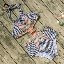 Tengweng 2017 Sexy High Waist Geometry Print One piece Women Swimsuit Push up Cheap Ladies Swimsuit Halter Female Bathing suit(China)