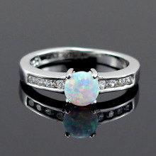 White Fire Opal CZ Women Claw Inay Fashion Jewelry Opal Ring Size 7 8 8.5 40W