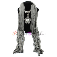 New Fashion Flower Pendant Charm Scarf Jewelry Scarf Necklace Scarves Free Shipping SC0005