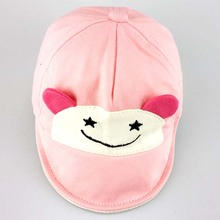 Pink lovely baby hat smile girl baby spring summer crown infant kid hat cotton print ears baby beanie for children accessories(China)