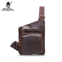DIOULAORENTOU Vintage Casual Travel Crazy Horse Leather Mens Chest Bag Genuine Leather Small Messenger Crossbody Bags For Man(China)