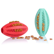 Pets Dog Toy Rubber Rugby Football Toys for Dog Cat Pet Training Have Fun Diet Control Dental Massaging Ball1pcs Pet supplies(China)